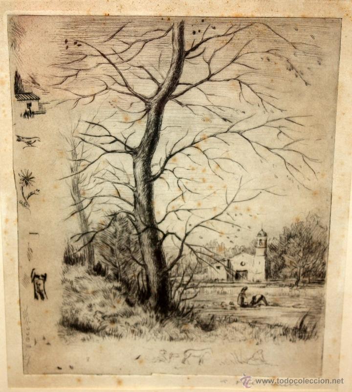 Arte: ANTONI OLLÉ PINELL (Barcelona 1897 - 1981) AGUAFUERTE Y PUNTA SECA FIRMADO A LÁPIZ. AÑOS 50 - Foto 2 - 49750135