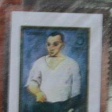 Arte: SELLO TROQUELADO DE METAL HUECOGRABADO: AUTORETRATO DE PICASSO – FICHA TECNICA HISTORIA - POSTAL . Lote 54926460