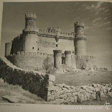 Arte: MANZANARES EL REAL MADRID CASTILLO HUECOGRABADO AÑOS 40. Lote 58190804