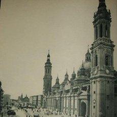 Arte: ZARAGOZA PLAZA DEL PILAR HUECOGRABADO AÑOS 40. Lote 58191149