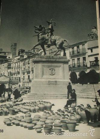 TRUJILLO CACERES PLAZA MAYOR MERCADO HUECOGRABADO AÑOS 40 (Arte - Huecograbado)