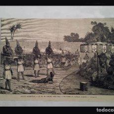 Arte: HUECOGRABADO DE 1890 - EL REY DE DAHOMEY, (ANTIGUO ESTADO AFRICANO) ORDENANDO LA INMOLACION HUMANA. Lote 76827743