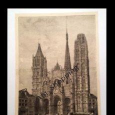 Arte: CATEDRAL DE ROUEN - HUECOGRABADO DE 1890. Lote 77451417