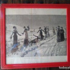 Arte: PAISAGE MUGERES EN LA NIEVE, HUECOGRABADO S:XIX.. Lote 96753791