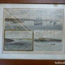 Arte: ANTIGUO HUECOGRABADO COLOREADO VISTA DE PUERTO DE MAHÓN, MENORCA, LAZARETO. Lote 110617795