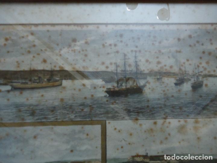 Arte: Antiguo Huecograbado coloreado Vista de Puerto de Mahón, Menorca, Lazareto - Foto 2 - 110617795