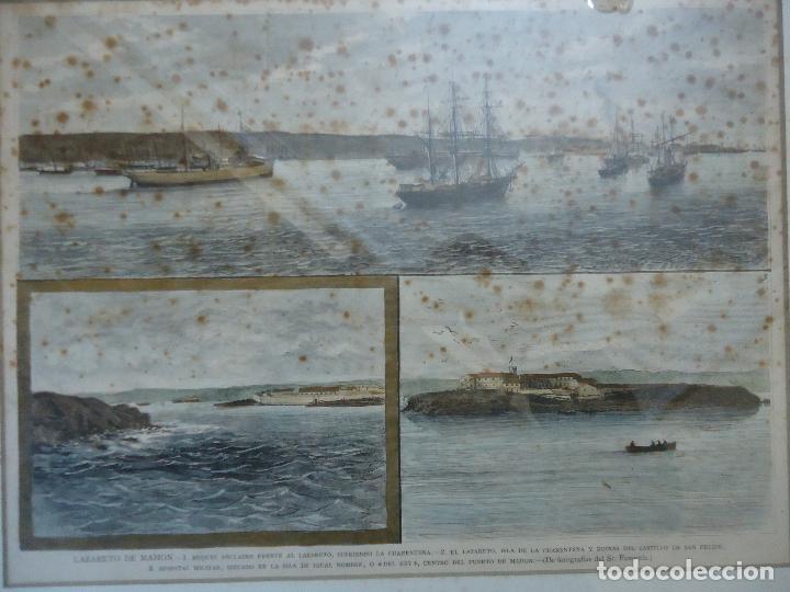 Arte: Antiguo Huecograbado coloreado Vista de Puerto de Mahón, Menorca, Lazareto - Foto 3 - 110617795