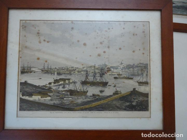 ANTIGUO HUECOGRABADO COLOREADO VISTA MAHÓN DESDE EL ASTILLERO. (Arte - Huecograbado)