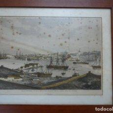 Arte: ANTIGUO HUECOGRABADO COLOREADO VISTA MAHÓN DESDE EL ASTILLERO.. Lote 110617951
