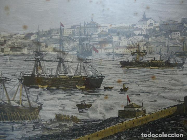 Arte: Antiguo Huecograbado coloreado Vista Mahón desde el astillero. - Foto 2 - 110617951