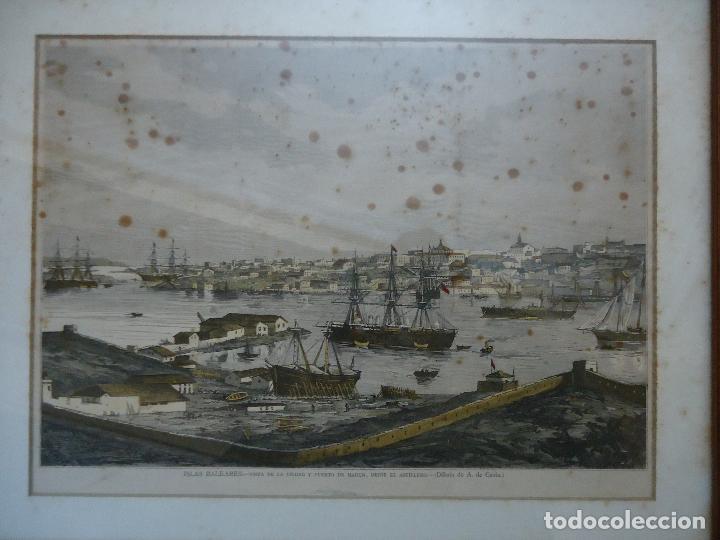 Arte: Antiguo Huecograbado coloreado Vista Mahón desde el astillero. - Foto 3 - 110617951