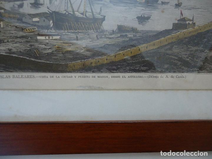 Arte: Antiguo Huecograbado coloreado Vista Mahón desde el astillero. - Foto 4 - 110617951