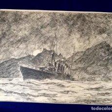 Arte: LAMINA FRANCESA. PRINCIPIOS SIGLO XX TEMATICA BARCOS. ENVIO INCLUIDO EN EL PRECIO.. Lote 126110055
