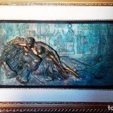 Arte: BONITO CUADRO DE - REINA EGIPCIA CON LEON - EN RELIEVE - SIMULACION DE BRONCE ( RESINA )AUTOR-YIHAI-. Lote 147179510