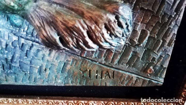 Arte: Bonito cuadro de - Reina Egipcia con Leon - En relieve - Simulacion de Bronce ( Resina )Autor-YIHAI- - Foto 3 - 147179510