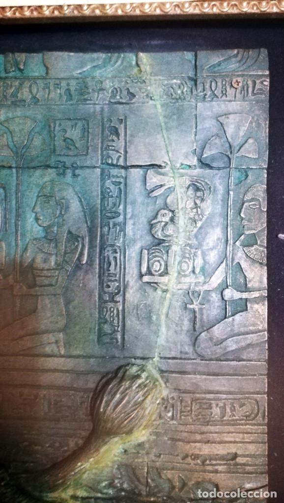 Arte: Bonito cuadro de - Reina Egipcia con Leon - En relieve - Simulacion de Bronce ( Resina )Autor-YIHAI- - Foto 7 - 147179510
