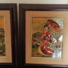 Arte: ANTIGUA PAREJA DE CUADROS EN RELIEVE DE DAMAS GEISHAS JAPONESAS. Lote 182602137
