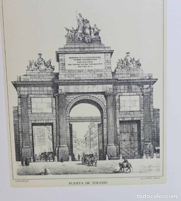 Arte: Lámina de Madrid,Puerta de Toledo,huecograbado,35 x 25 cm. - Foto 2 - 187458540