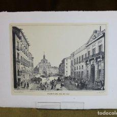 Arte: LÁMINA DE MADRID,PUERTA DEL SOL EN 1842,HUECOGRABADO,35 X 25 CM.. Lote 187458708