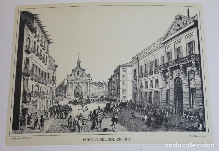 Arte: Lámina de Madrid,Puerta del Sol en 1842,huecograbado,35 x 25 cm. - Foto 2 - 187458708