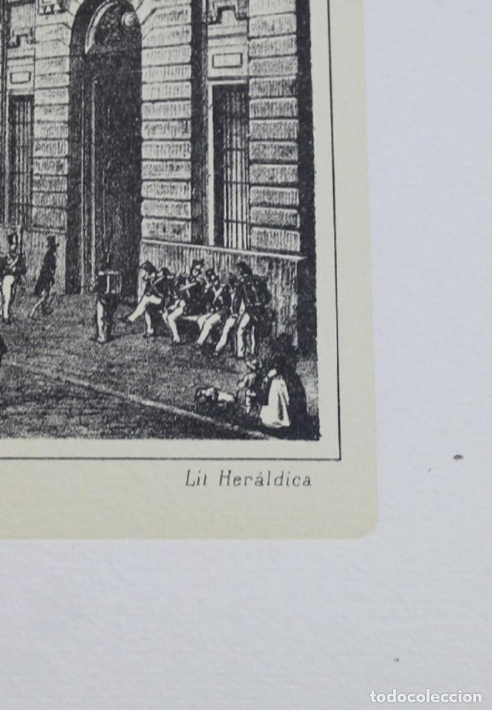 Arte: Lámina de Madrid,Puerta del Sol en 1842,huecograbado,35 x 25 cm. - Foto 3 - 187458708