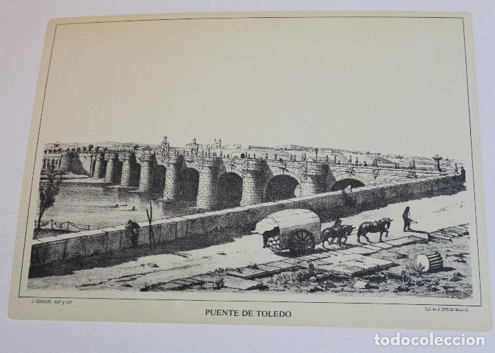 Arte: Lámina de Madrid,Puente de Toledo,huecograbado,35 x 25 cm. - Foto 2 - 187459223