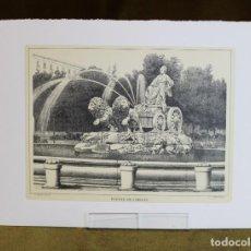 Arte: LÁMINA DE MADRID,FUENTE DE CIBELES,HUECOGRABADO,35 X 25 CM.. Lote 187459360
