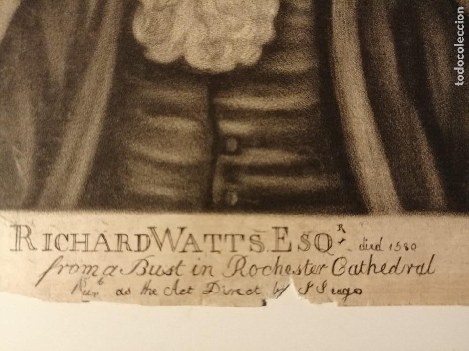 Arte: Mediatinta , retrato de Richard Watts por Francis Edward Adams, publicado por John Seago.Ca.1760 - Foto 5 - 192342726