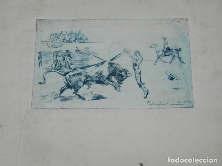 (M) HUECOGRABADO TAUROMAQUIA - TOROS - AUTOR BECQUER, 31X23,5 CM, SEÑALES DE USO (Arte - Huecograbado)