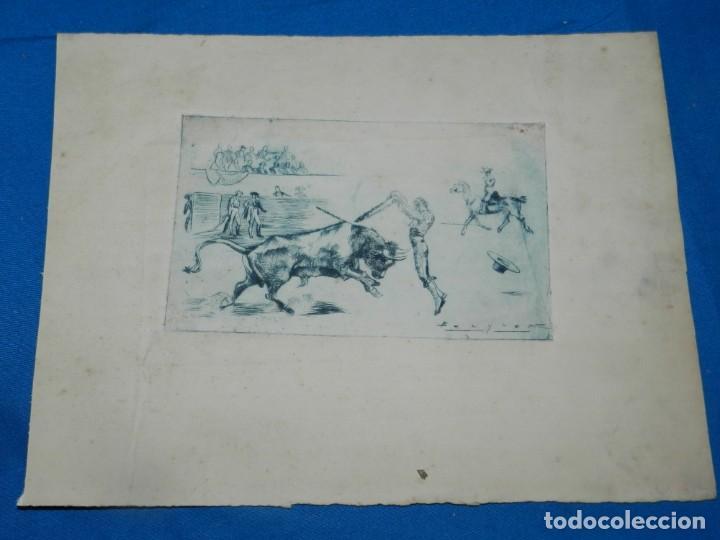 Arte: (M) HUECOGRABADO TAUROMAQUIA - TOROS - AUTOR BECQUER, 31X23,5 CM, SEÑALES DE USO - Foto 2 - 193882941