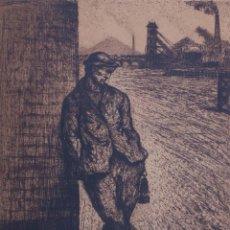 Arte: PRECIOSO GRABADO DE UN HOMBRE Y UN PAISAJE INDUSTRIAL . Lote 194328892