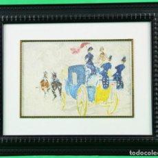 Arte: LÁMINA ENMARCADA EN MADERA, REPRODUCCIÓN DE UNA PINTURA DE TOULOUSE-LAUTREC. Lote 196914946