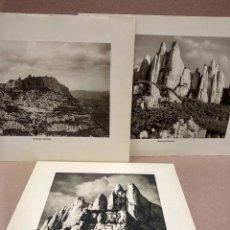 Arte: LOTE 3 FOTOGRAFIAS HUECOGRABADO DE MONSERRAT CATALUÑA DE JOSE ORTIZ ECHAGUE. Lote 199303113