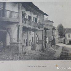 Arte: AVILES ASTURIAS GRUPO DE CASAS HELIOGRABADO 1928 G. BOUAN , VICENT FREAL ET CIE. PARIS. Lote 200892833