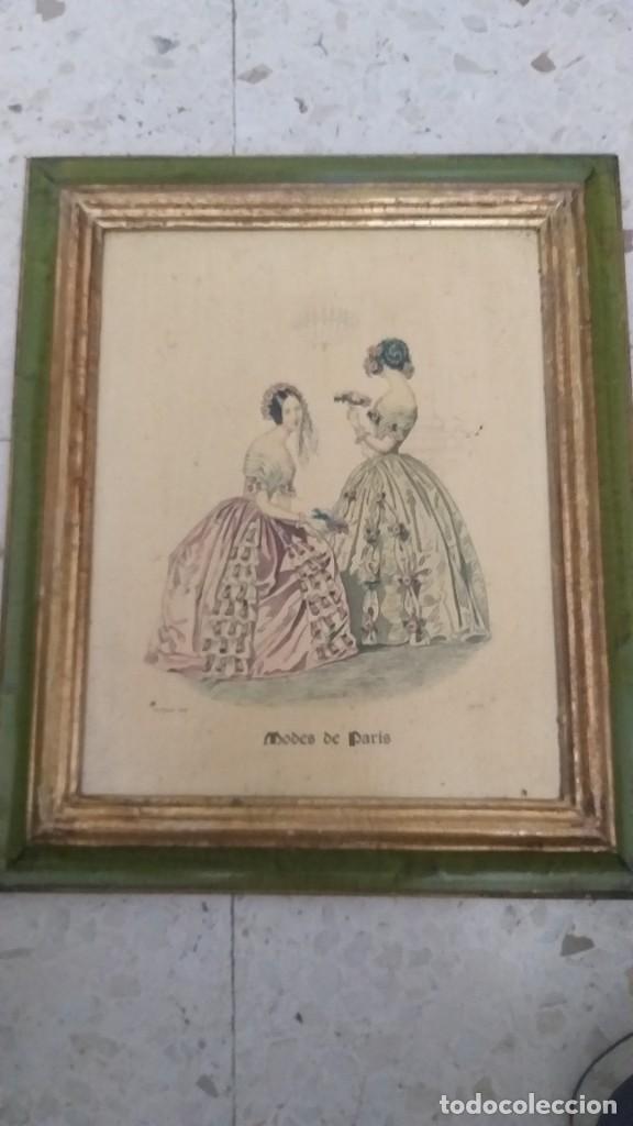 RECIOSO GRABADO SOBRE MADERA.MARCO EN DORADO.32X41CM-LEYENDA DE 15 FEVRIER 1843,Y AL OTRO LADO 1903 (Arte - Huecograbado)