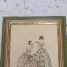 Arte: RECIOSO GRABADO SOBRE MADERA.MARCO EN DORADO.32X41CM-LEYENDA DE 15 FEVRIER 1843,Y AL OTRO LADO 1903. Lote 206837733
