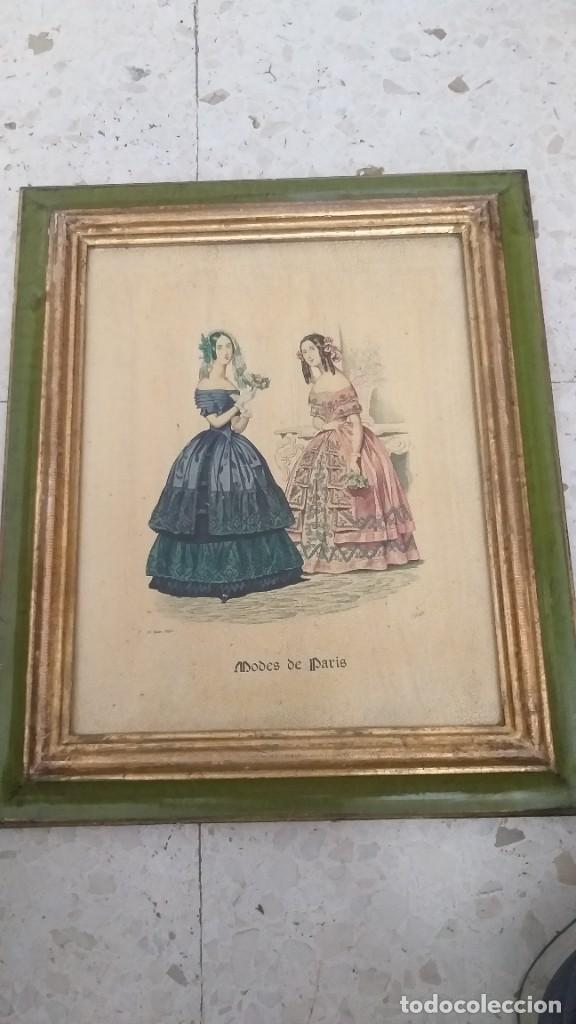 RECIOSO GRABADO SOBRE MADERA.MARCO EN DORADO.32X41CM-LEYENDA DE 15 FEVRIER 1843,Y AL OTRO LADO 1911 (Arte - Huecograbado)