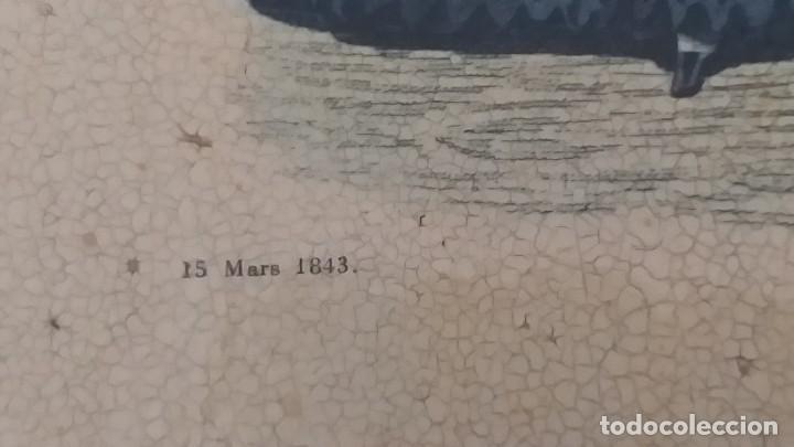Arte: RECIOSO GRABADO SOBRE MADERA.MARCO EN DORADO.32X41CM-LEYENDA DE 15 FEVRIER 1843,Y AL OTRO LADO 1911 - Foto 3 - 206837761