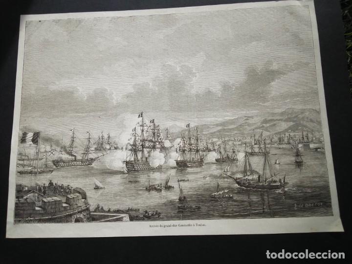 Arte: Gran litografia huecograbado. Arribo a Tolón - Foto 2 - 40576802