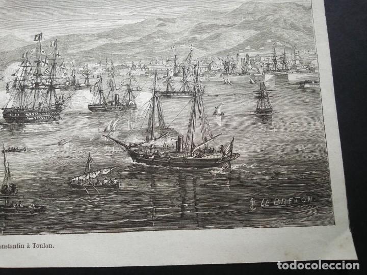 Arte: Gran litografia huecograbado. Arribo a Tolón - Foto 8 - 40576802