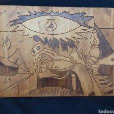 """Arte: SERIE """"GUERNICA"""". 3 PIROGRAFÍAS DE A. PULIDO. FIRMADOS.. Lote 221568765"""