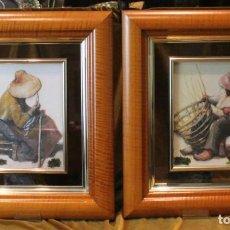 Arte: GRABADOS EN RELIEVE VITRIFICADOS, PAREJA DE ARTESANOS, 41 X 47 CM, MUY BIEN CONSERVADOS. Lote 221974486