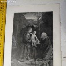 Arte: AÑO 1935 - RELIGIOSA - VIRGEN Y NIÑO JESUS DESCANSO EN LA HUIDA A EGIPTO. Lote 223144233