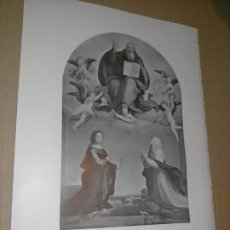Arte: LAMINA HOJA HUECOGRABADO - RELIGIOSO , EL PADRE ETERNO SE APARECE A SANTA MAGDALENA Y CATALINA. Lote 227594690