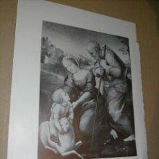 Arte: LAMINA HOJA HUECOGRABADO - RELIGIOSO , LA SAGRADA FAMILIA DEL CORDERO. Lote 227611325