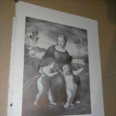 Arte: LAMINA HOJA HUECOGRABADO - RELIGIOSO , MADONA LA VIRGEN DEL JILGUERO. Lote 227611365