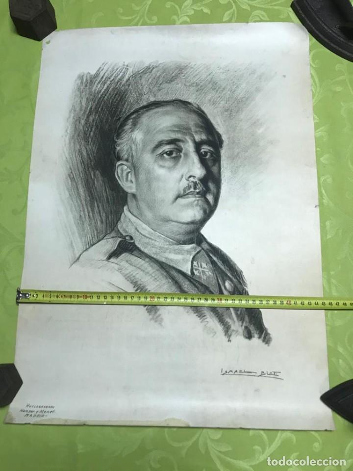 Arte: RETRATO DE FRANCISCO FRANCO POR ISMAEL BLAT- PRIMEROS HUECOGRABADOS DE HAUSER Y MENET - Foto 3 - 235363025