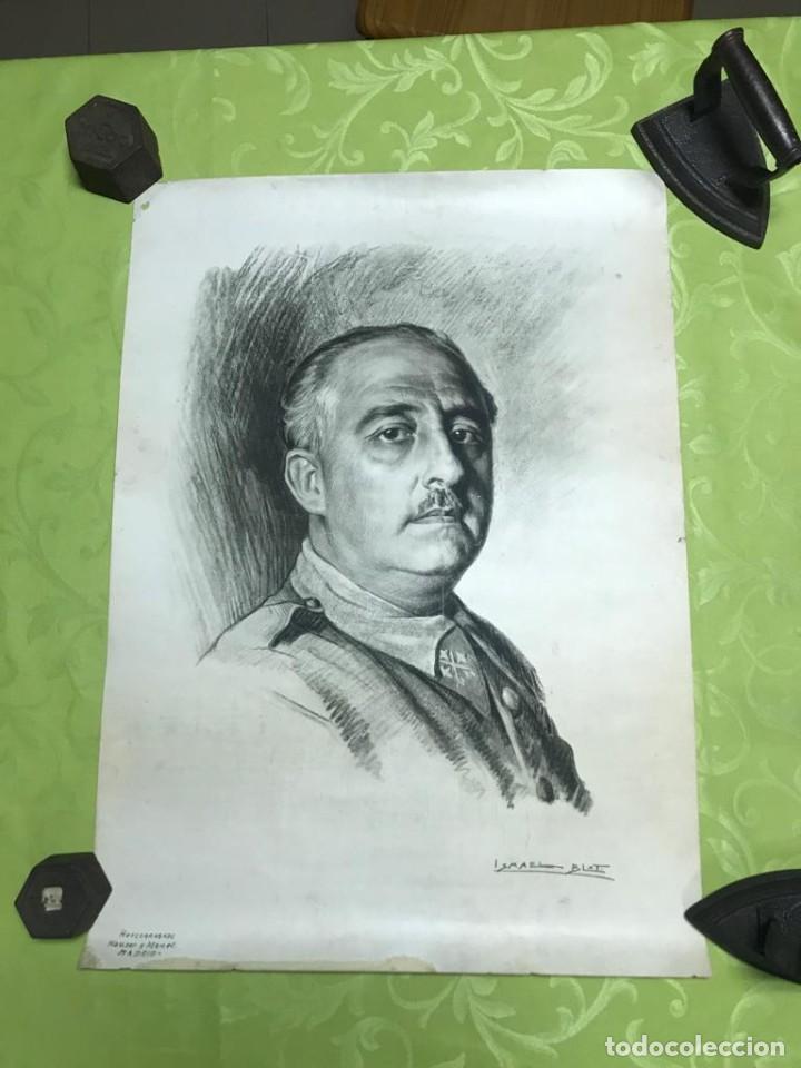 Arte: RETRATO DE FRANCISCO FRANCO POR ISMAEL BLAT- PRIMEROS HUECOGRABADOS DE HAUSER Y MENET - Foto 7 - 235363025