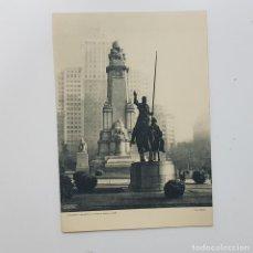 Arte: MONUMENTO A CERVANTES PLAZA ESPAÑA MADRID. HUECOGRABADO FOURNIER. FERLOSA. DAVERIO FELICITACIÓN 1960. Lote 240248655