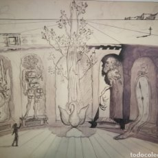 """Arte: SALVADOR DALI, LÁMINA IMPRESA DEL DIBUJO """"DISEÑO PARA DECORADO DE BALLET"""" (1939), CIRCULO LECTORES. Lote 252934300"""
